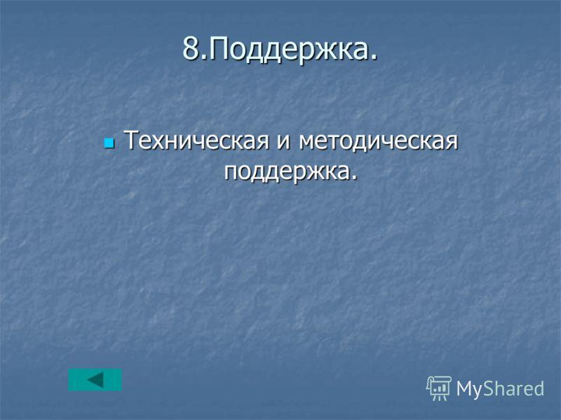 8.Поддержка. Техническая и методическая поддержка. Техническая и методическая поддержка.