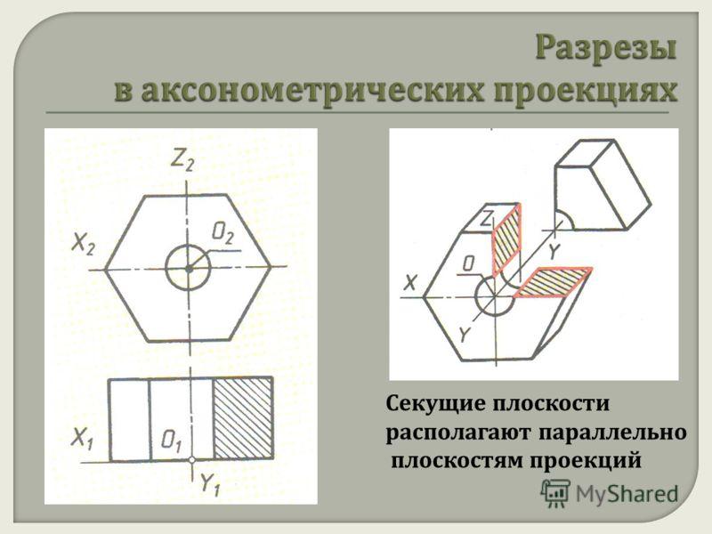 Секущие плоскости располагают параллельно плоскостям проекций