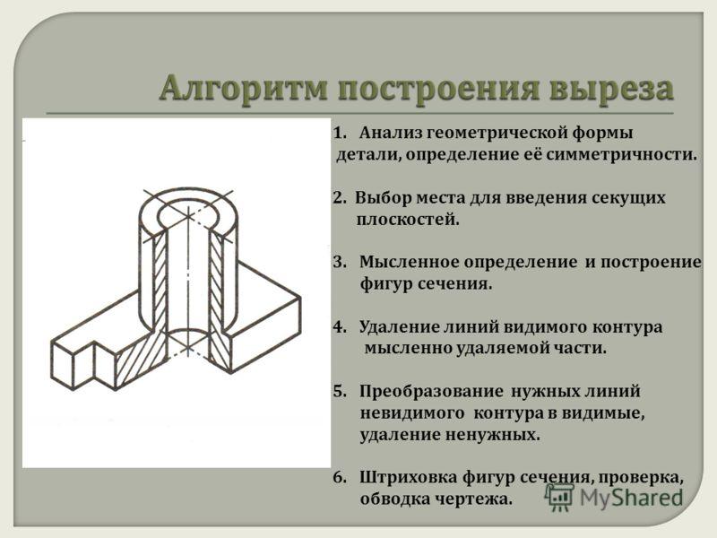 1.Анализ геометрической формы детали, определение её симметричности. 2. Выбор места для введения секущих плоскостей. 3.Мысленное определение и построение фигур сечения. 4.Удаление линий видимого контура мысленно удаляемой части. 5.Преобразование нужн