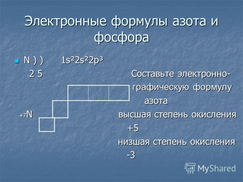 Электронные формулы азота и фосфора N ) ) 1s²2s²2p³ N ) ) 1s²2s²2p³ 2 5 Cоставьте электронно- 2 5 Cоставьте электронно- графическую формулу графическую формулу азота азота +7 N высшая степень окисления +7 N высшая степень окисления +5 +5 низшая степе