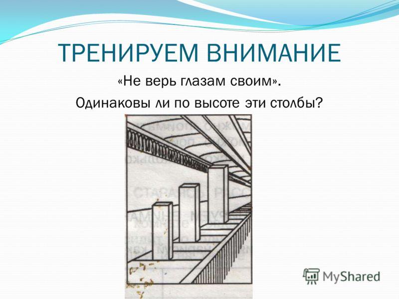 ТРЕНИРУЕМ ВНИМАНИЕ «Не верь глазам своим». Одинаковы ли по высоте эти столбы?