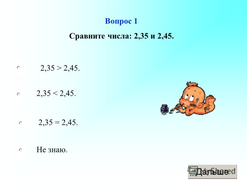 Вопрос 1 Сравните числа: 2,35 и 2,45. 2,35 > 2,45. 2,35 < 2,45. 2,35 = 2,45. Не знаю.
