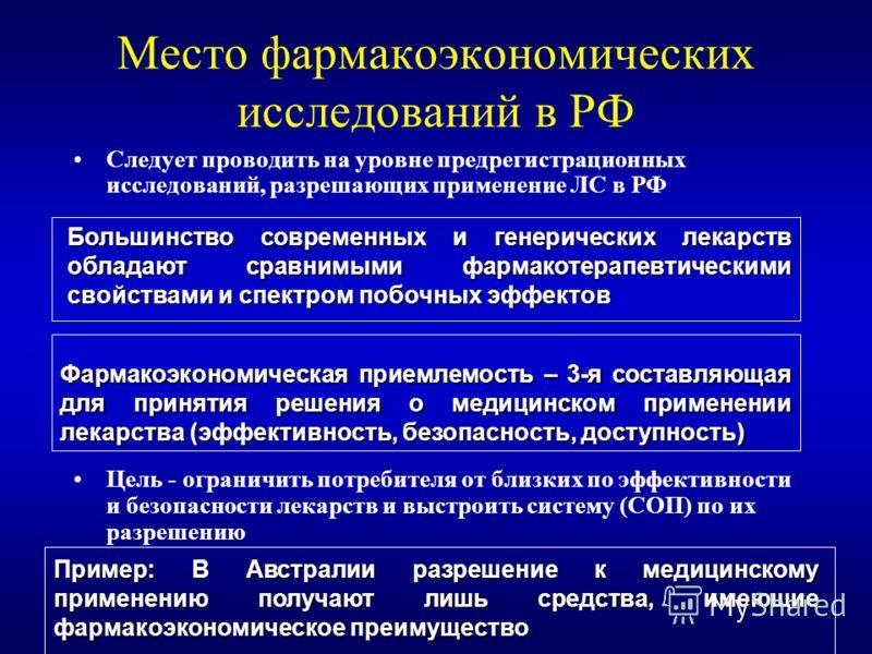 Место фармакоэкономических исследований в РФ Следует проводить на уровне предрегистрационных исследований, разрешающих применение ЛС в РФ Цель - ограничить потребителя от близких по эффективности и безопасности лекарств и выстроить систему (СОП) по и