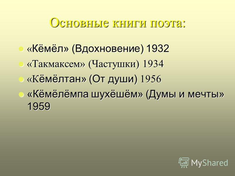 Основные книги поэта: « Кёмёл» (Вдохновение) 1932 « Кёмёл» (Вдохновение) 1932 «Такмаксем» (Частушки) 1934 «Такмаксем» (Частушки) 1934 «К ёмёлтан» (От души) 1956 «К ёмёлтан» (От души) 1956 «Кёмёлёмпа шухёшём» (Думы и мечты» 1959 «Кёмёлёмпа шухёшём» (Д