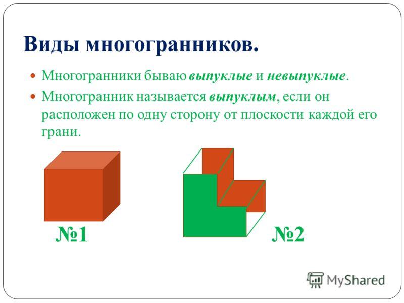 Виды многогранников. Многогранники бываю выпуклые и невыпуклые. Многогранник называется выпуклым, если он расположен по одну сторону от плоскости каждой его грани. 1212