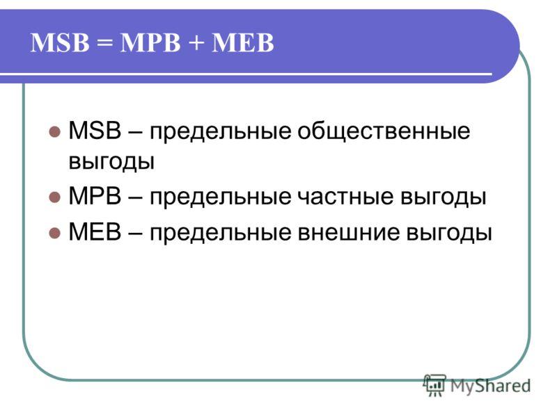 MSB = MPB + MEB MSB – предельные общественные выгоды MPB – предельные частные выгоды MEB – предельные внешние выгоды