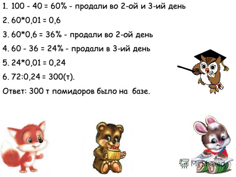 1.100 - 40 = 60% - продали во 2-ой и 3-ий день 2.60*0,01 = 0,6 3.60*0,6 = 36% - продали во 2-ой день 4.60 - 36 = 24% - продали в 3-ий день 5.24*0,01 = 0,24 6.72:0,24 = 300(т). Ответ: 300 т помидоров было на базе.