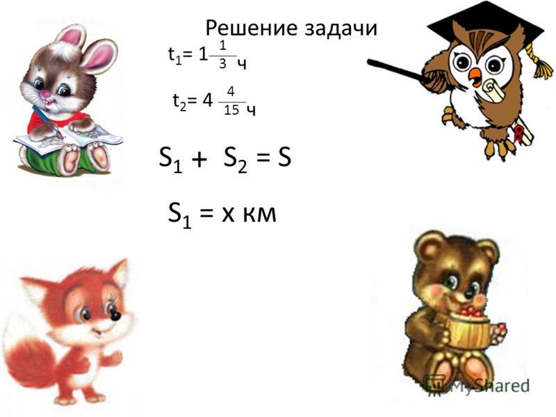 t 1 = 1 1313 ч t 2 = 4 4 15 ч S1S1 S2S2 + = S S 1 = x км Решение задачи