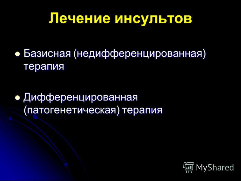 Лечение инсультов Базисная (недифференцированная) терапия Базисная (недифференцированная) терапия Дифференцированная (патогенетическая) терапия Дифференцированная (патогенетическая) терапия
