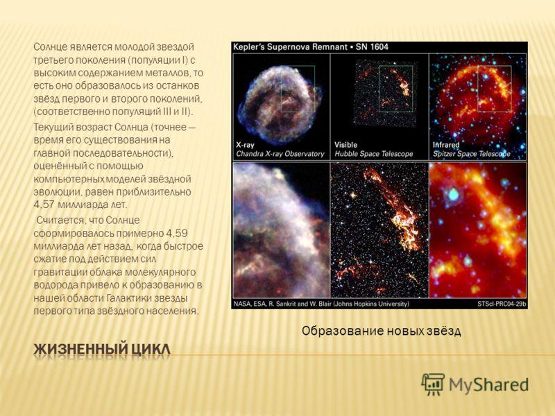 Солнце является молодой звездой третьего поколения (популяции I) с высоким содержанием металлов, то есть оно образовалось из останков звёзд первого и второго поколений, (соответственно популяций III и II). Текущий возраст Солнца (точнее время его сущ