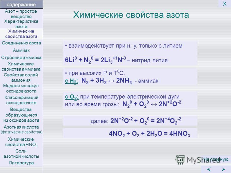 Химические свойства азота На главную Х взаимодействует при н. у. только с литием 6Li 0 + N 2 0 = 2Li 3 +1 N -3 – нитрид лития при высоких Р и Т 0 С: с Н 2 : N 2 + 3H 2 2NH 3 - аммиак с О 2 : при температуре электрической дуги или во время грозы: N 2
