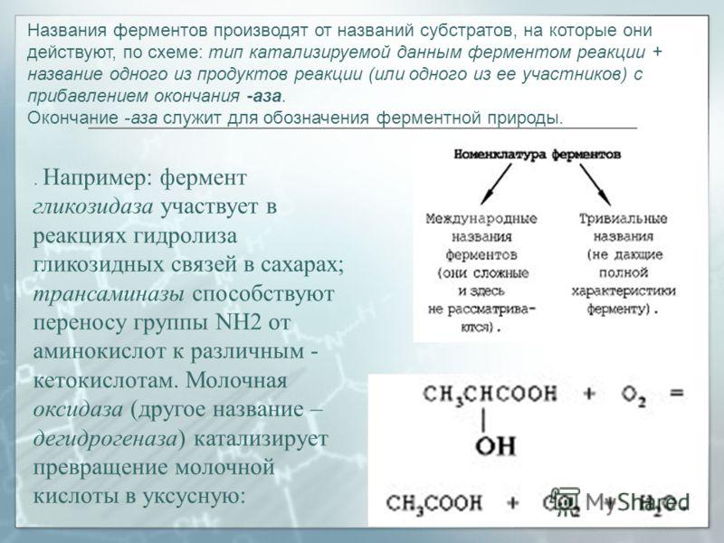 Названия ферментов производят от названий субстратов, на которые они действуют, по схеме: тип катализируемой данным ферментом реакции + название одного из продуктов реакции (или одного из ее участников) с прибавлением окончания -аза. Окончание -аза с