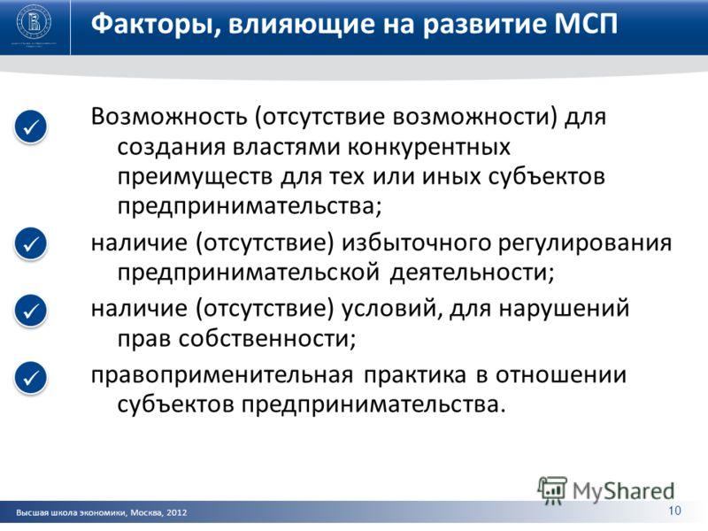 Высшая школа экономики, Москва, 2012 Факторы, влияющие на развитие МСП Возможность (отсутствие возможности) для создания властями конкурентных преимуществ для тех или иных субъектов предпринимательства; наличие (отсутствие) избыточного регулирования