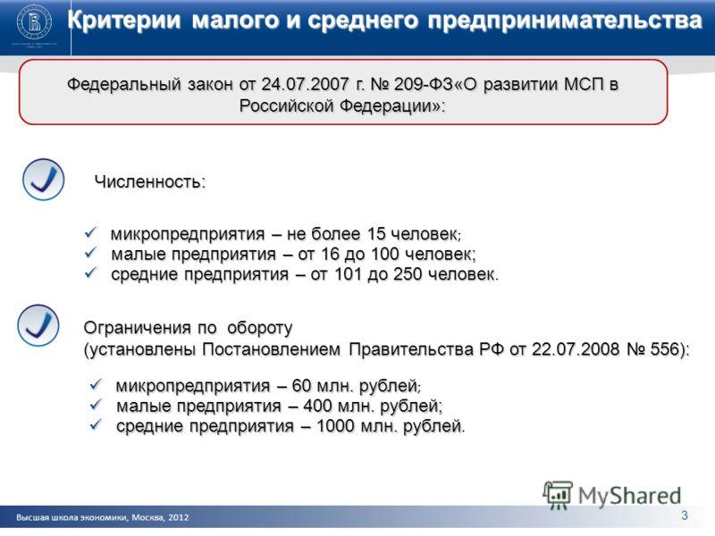Высшая школа экономики, Москва, 2012 Критерии малого и среднего предпринимательства Федеральный закон от 24.07.2007 г. 209-ФЗ«О развитии МСП в Российской Федерации»: Численность: микропредприятия – не более 15 человек микропредприятия – не более 15 ч