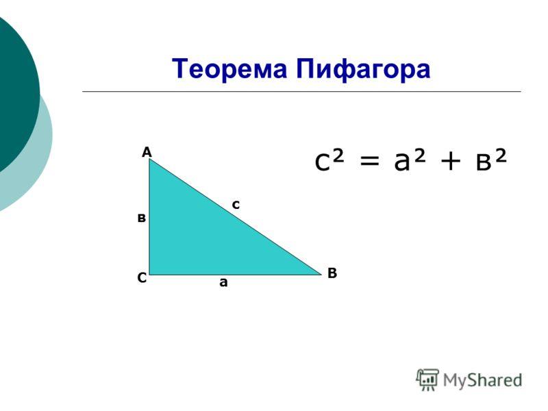 Теорема Пифагора С А В с а в с = а + в