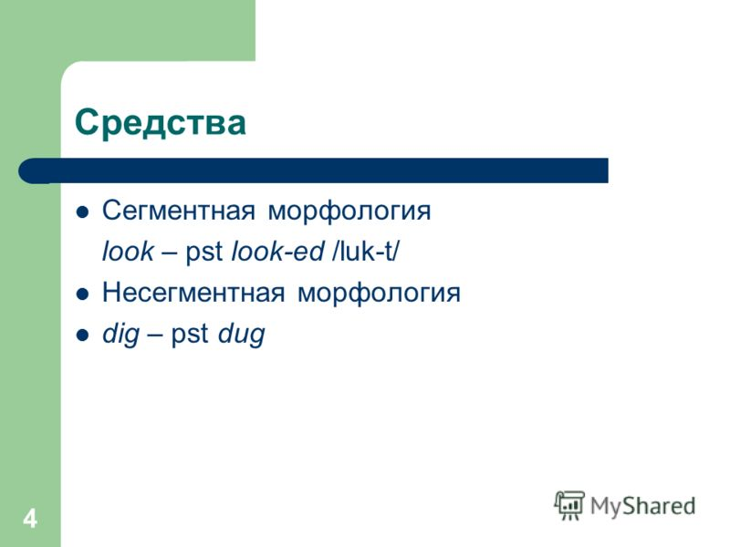 4 Средства Сегментная морфология look – pst look-ed /luk-t/ Несегментная морфология dig – pst dug