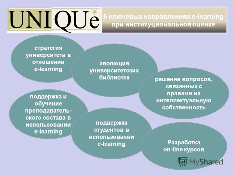 6 ключевых направлениях e-learning при институциональной оценке стратегия университета в отношении e-learning эволюция университетских библиотек решение вопросов, связанных с правами на интеллектуальную собственность поддержка и обучение преподавател