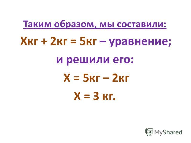 Таким образом, мы составили: Хкг + 2кг = 5кг – уравнение; и решили его: Х = 5кг – 2кг Х = 3 кг.