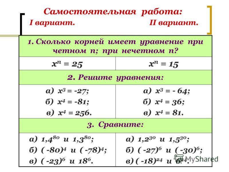 Самостоятельная работа: I вариант. II вариант. 1. Сколько корней имеет уравнение при четном п; при нечетном п? х п = 25х п = 15 2. Решите уравнения: а) х 3 = -27; б) х 4 = -81; в) х 4 = 256. а) х 3 = - 64; б) х 4 = 36; в) х 4 = 81. 3. Сравните: а) 1,
