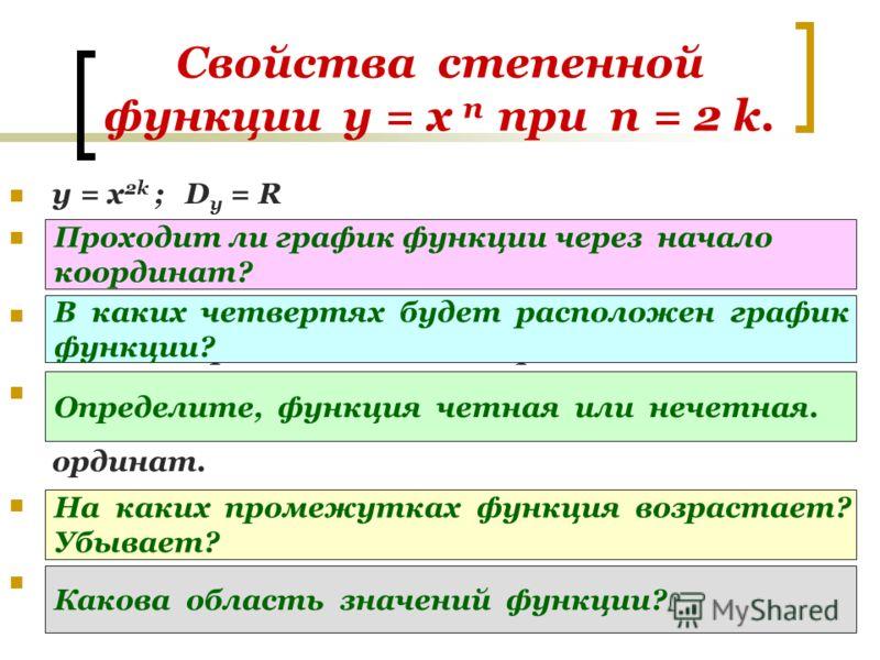 Свойства степенной функции у = х п при п = 2 k. y = х 2k ; D y = R При х = 0 у = 0. График функции проходит через начало координат. При х 0 у > 0. График функции расположен в I и II координатных четвертях. у( -х ) = ( -х ) 2k = х 2k = у( х ) – четная