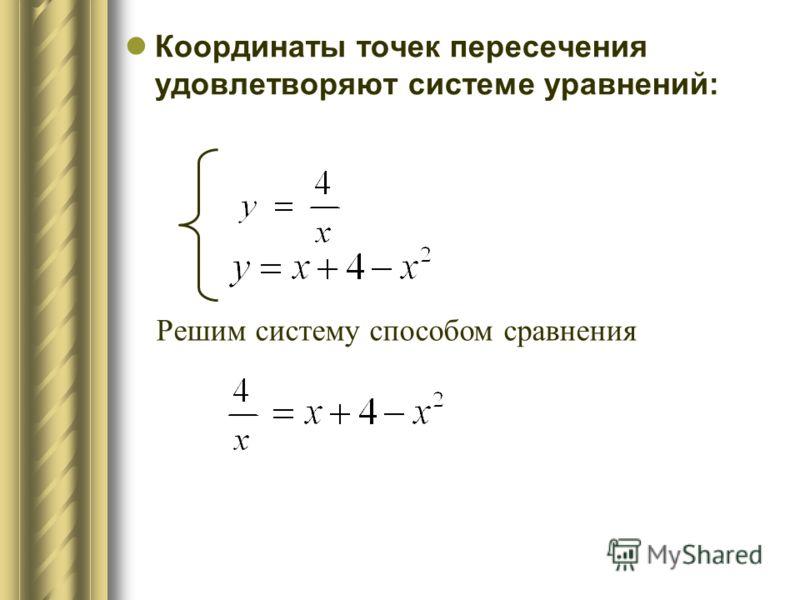 Координаты точек пересечения удовлетворяют системе уравнений: Решим систему способом сравнения