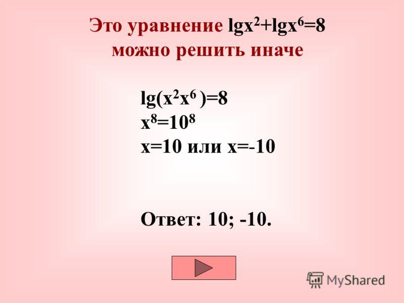 log 2 (4-x)+log 2 (1-2x)=2log 2 3lgx 2 +lgx 6 =8 2lgx+6lgx=8 8lgx=8 lgx=1 x=10 Ответ: 10. Найди ошибку и запиши правильное решение Подсказка Ответ ПодсказкаОтвет 10; -10.