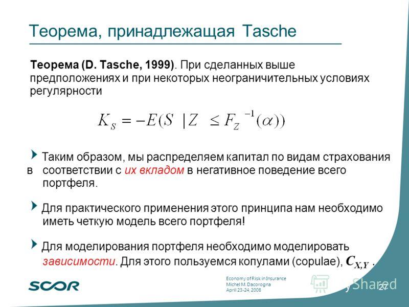 Economy of Risk in Insurance Michel M. Dacorogna April 23-24, 2008 27 Теорема, принадлежащая Tasche Теорема (D. Tasche, 1999). При сделанных выше предположениях и при некоторых неограничительных условиях регулярности Таким образом, мы распределяем ка