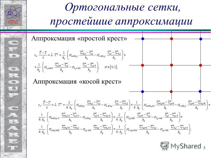 3 Ортогональные сетки, простейшие аппроксимации Аппроксмация «простой крест» Аппроксмация «косой крест»