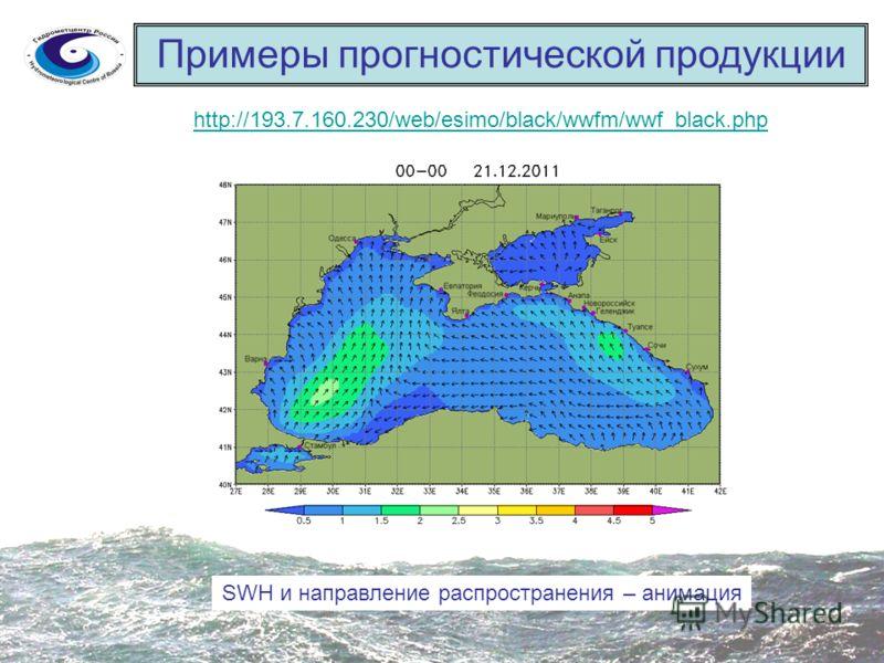 Примеры прогностической продукции http://193.7.160.230/web/esimo/black/wwfm/wwf_black.php SWH и направление распространения – анимация