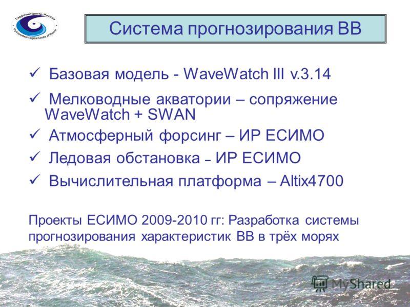 Система прогнозирования ВВ Базовая модель - WaveWatch III v.3.14 Мелководные акватории – сопряжение WaveWatch + SWAN Атмосферный форсинг – ИР ЕСИМО Ледовая обстановка – ИР ЕСИМО Вычислительная платформа – Altix4700 Проекты ЕСИМО 2009-2010 гг: Разрабо