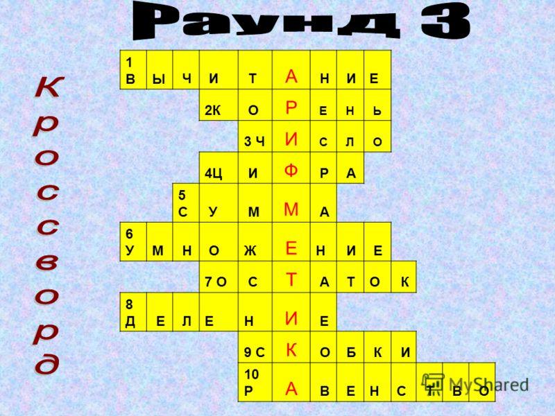 1 А 2 Р 3 И 4 Ф 5 М 6 Е 7 Т 8 И 9 К 10 А
