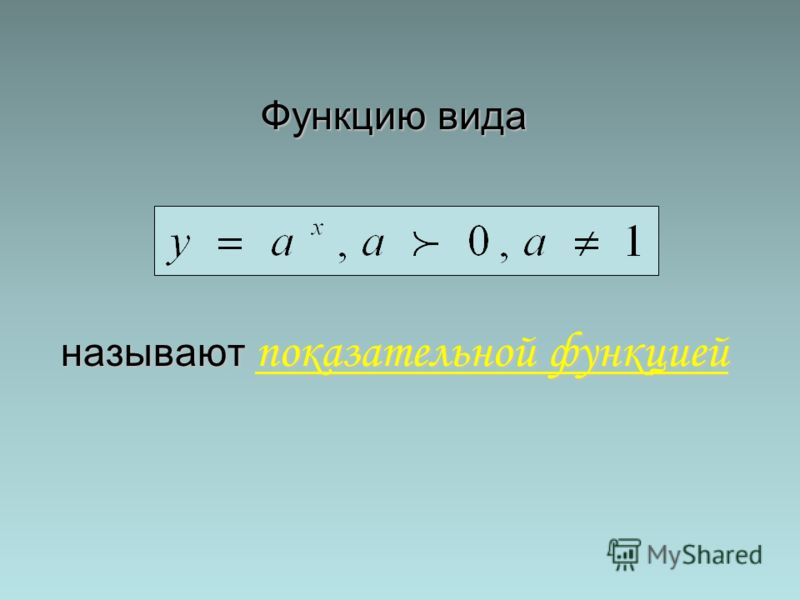 Функцию вида называют показательной функцией