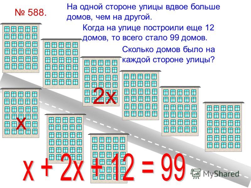 588. На одной стороне улицы вдвое больше домов, чем на другой. Когда на улице построили еще 12 домов, то всего стало 99 домов. Сколько домов было на каждой стороне улицы? х 2х