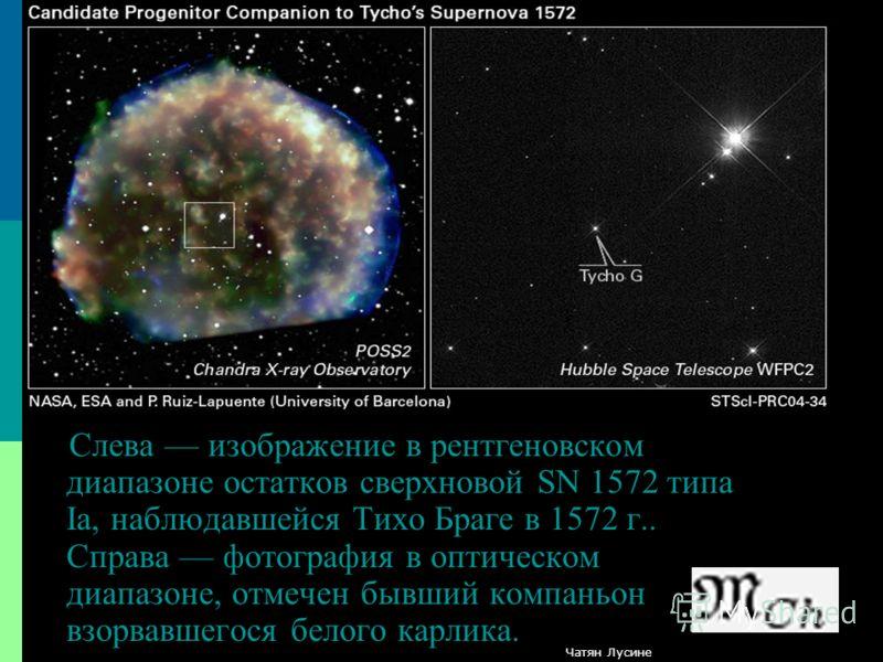 Слева изображение в рентгеновском диапазоне остатков сверхновой SN 1572 типа Ia, наблюдавшейся Тихо Браге в 1572 г.. Справа фотография в оптическом диапазоне, отмечен бывший компаньон взорвавшегося белого карлика. Чатян Лусине