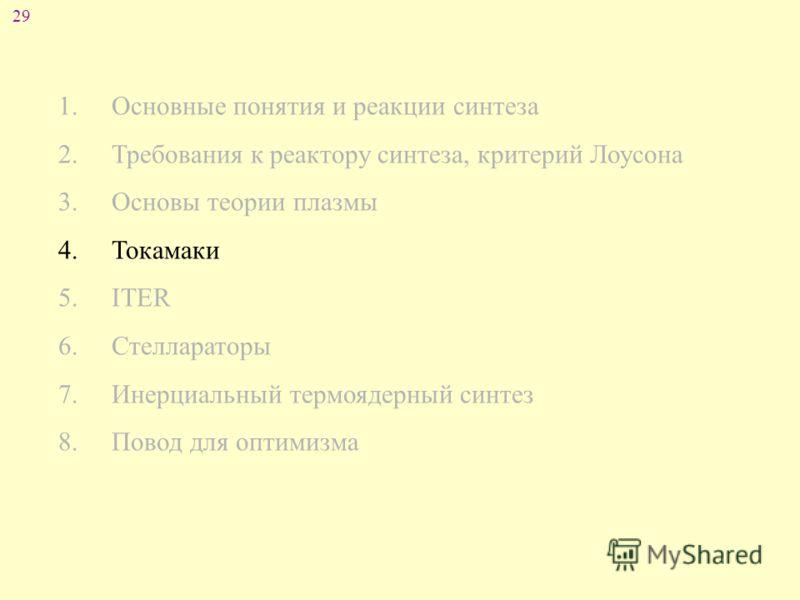 29 1. Основные понятия и реакции синтеза 2. Требования к реактору синтеза, критерий Лоусона 3. Основы теории плазмы 4. Токамаки 5. ITER 6. Стеллараторы 7. Инерциальный термоядерный синтез 8. Повод для оптимизма