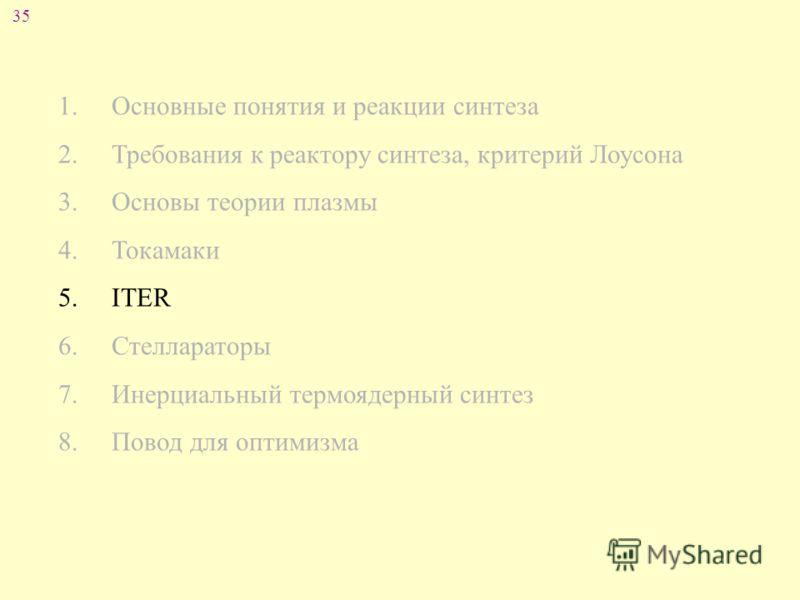 35 1. Основные понятия и реакции синтеза 2. Требования к реактору синтеза, критерий Лоусона 3. Основы теории плазмы 4. Токамаки 5. ITER 6. Стеллараторы 7. Инерциальный термоядерный синтез 8. Повод для оптимизма