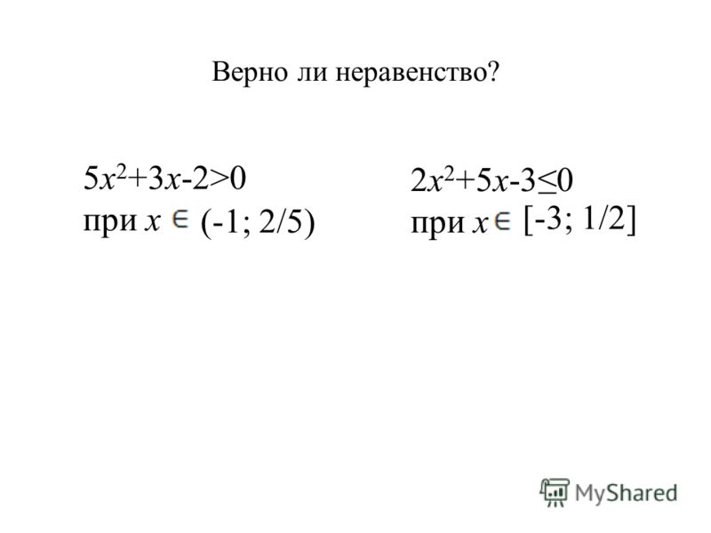 Верно ли неравенство? 5x 2 +3x-2>0 при x (-1; 2/5) 2x 2 +5x-30 при x [-3; 1/2]
