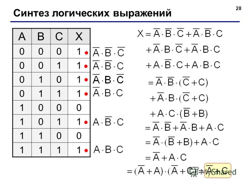 28 Синтез логических выражений ABCX 0001 0011 0101 0111 1000 1011 1100 1111
