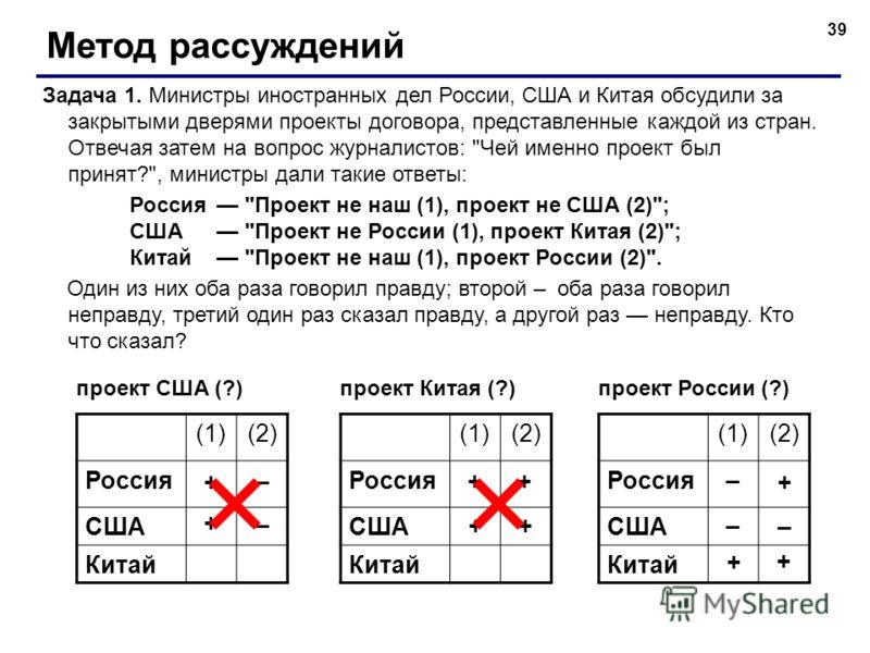 39 Метод рассуждений Задача 1. Министры иностранных дел России, США и Китая обсудили за закрытыми дверями проекты договора, представленные каждой из стран. Отвечая затем на вопрос журналистов: