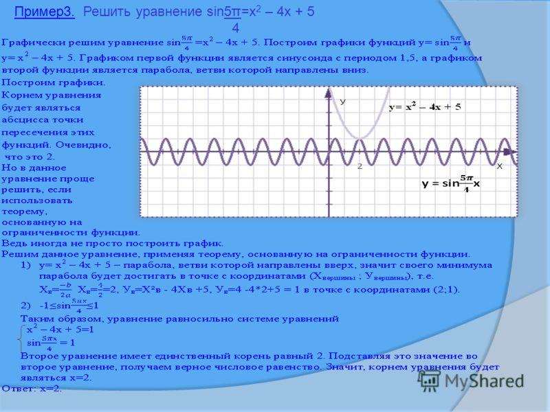 Пример3. Решить уравнение sin5π=x 2 – 4x + 5 4 1