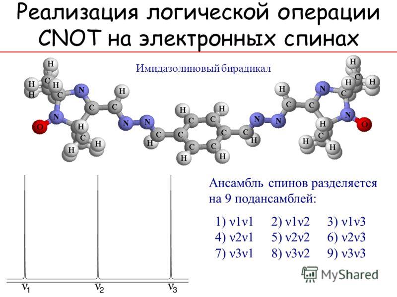 Имидазолиновый бирадикал 1) ν1ν1 2) ν1ν2 3) ν1ν3 4) ν2ν1 5) ν2ν2 6) ν2ν3 7) ν3ν1 8) ν3ν2 9) ν3ν3 Ансамбль спинов разделяется на 9 подансамблей:
