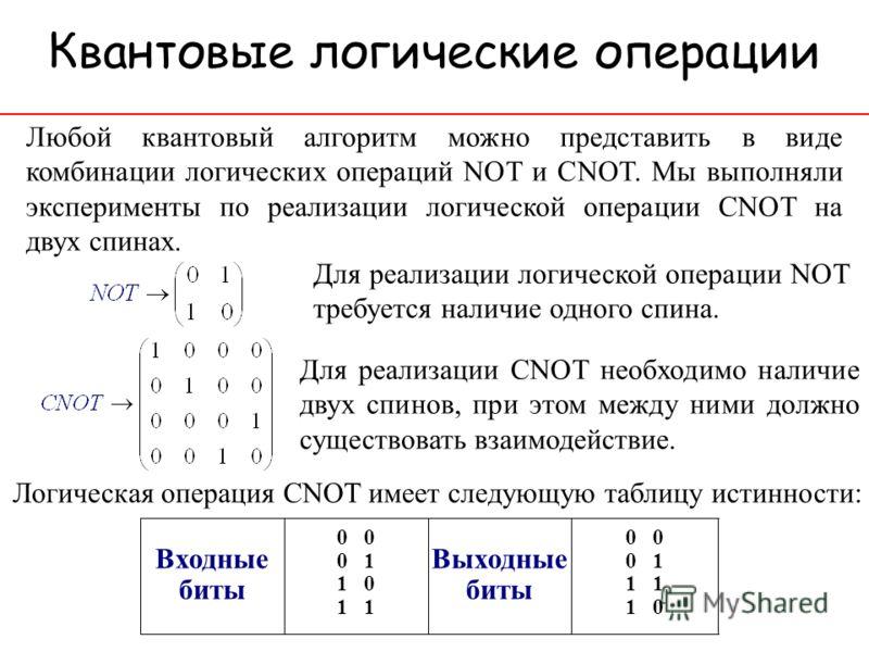 Квантовые логические операции Любой квантовый алгоритм можно представить в виде комбинации логических операций NOT и CNOT. Мы выполняли эксперименты по реализации логической операции CNOT на двух спинах. Для реализации логической операции NOT требует