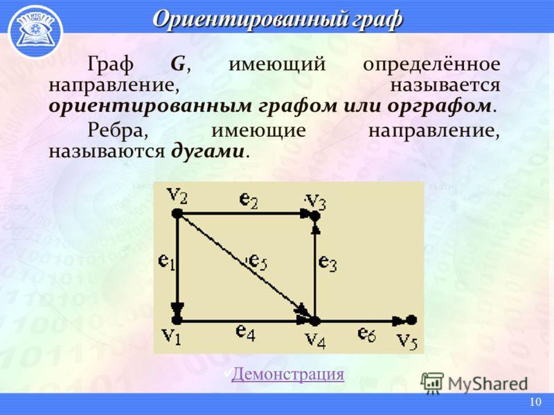 Граф G, имеющий определённое направление, называется ориентированным графом или орграфом. Ребра, имеющие направление, называются дугами. Демонстрация 10