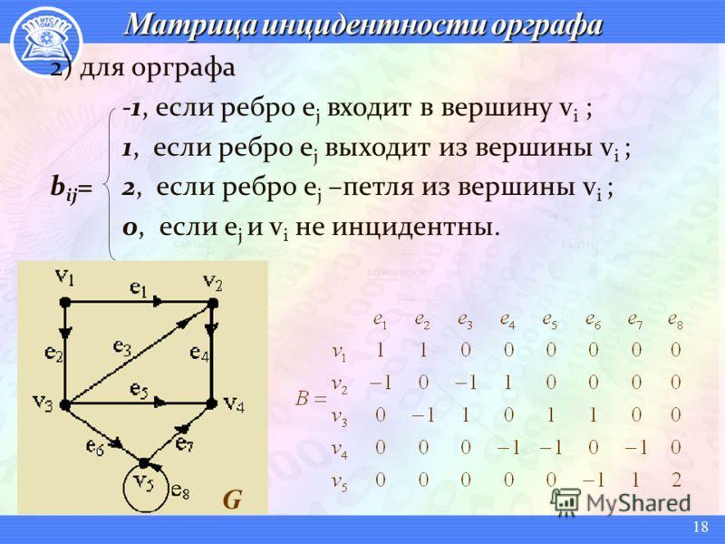 18 2) для орграфа -1, если ребро e j входит в вершину v i ; 1, если ребро e j выходит из вершины v i ; b ij = 2, если ребро e j –петля из вершины v i ; 0, если e j и v i не инцидентны. G
