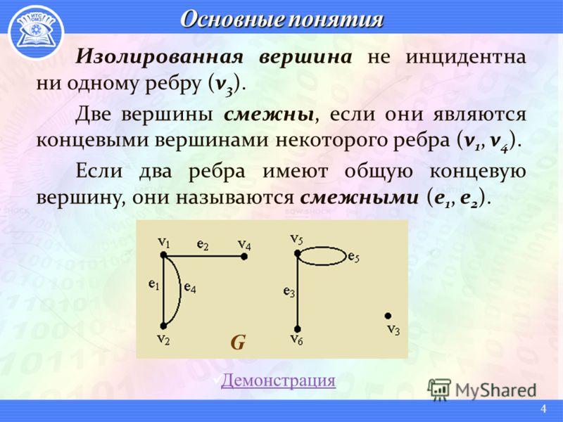 Изолированная вершина не инцидентна ни одному ребру (v 3 ). Две вершины смежны, если они являются концевыми вершинами некоторого ребра (v 1, v 4 ). Если два ребра имеют общую концевую вершину, они называются смежными (e 1, e 2 ). G Демонстрация 4