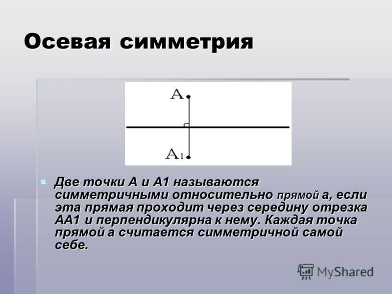 Осевая симметрия Две точки А и А1 называются симметричными относительно прямой а, если эта прямая проходит через середину отрезка АА1 и перпендикулярна к нему. Каждая точка прямой а считается симметричной самой себе. Две точки А и А1 называются симме