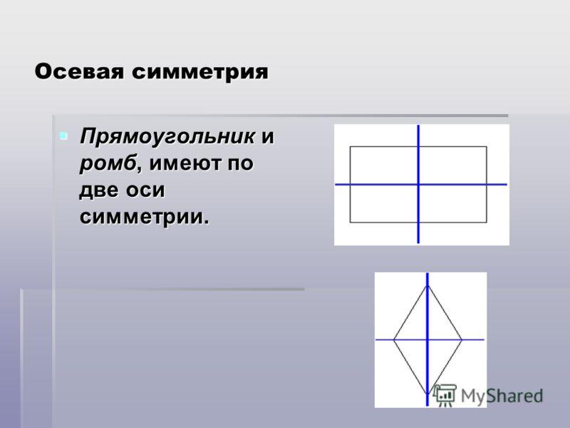 Осевая симметрия Прямоугольник и ромб, имеют по две оси симметрии. Прямоугольник и ромб, имеют по две оси симметрии.