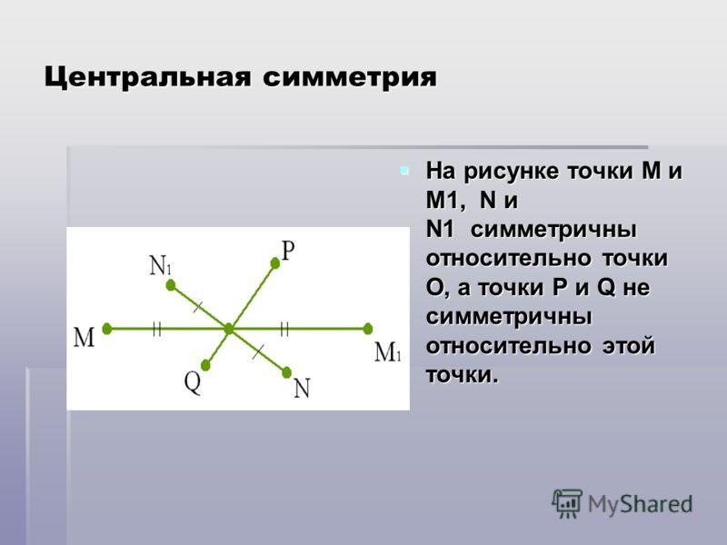 Центральная симметрия На рисунке точки М и М1, N и N1 симметричны относительно точки О, а точки Р и Q не симметричны относительно этой точки. На рисунке точки М и М1, N и N1 симметричны относительно точки О, а точки Р и Q не симметричны относительно