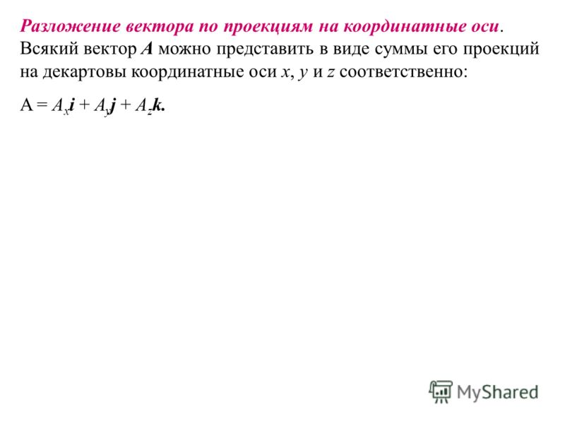 Разложение вектора по проекциям на координатные оси. Всякий вектор A можно представить в виде суммы его проекций на декартовы координатные оси x, y и z соответственно: A = A x i + A y j + A z k.