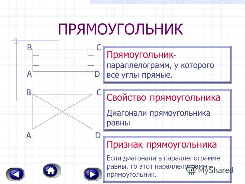 ПАРАЛЛЕЛОГРАММ Параллелограмм – четырехугольник, у которого противоположные стороны параллельны. А ВС D Свойства параллелограмма: В параллелограмме противопо- ложные стороны равны и проти- воположные углы равны; Диагонали параллелограмма точкой перес